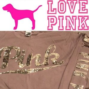 NWT Pink VS gold blinged out top size Small